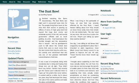 A screen shot of the multi-user blog website.